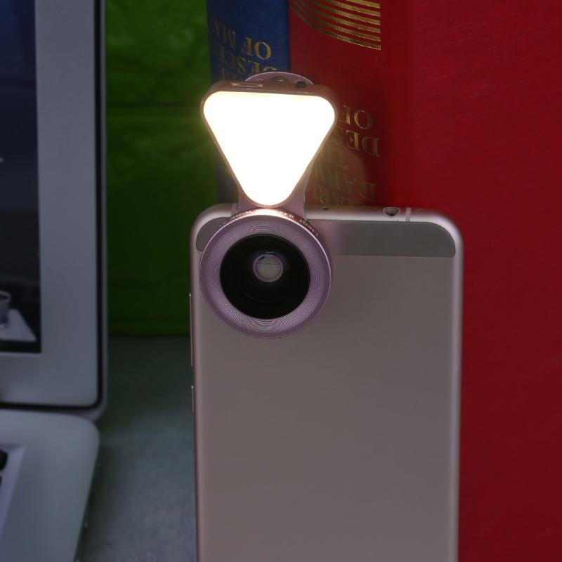 ALLOET Mobile Phone Tablet 0.4-0.6X Wide Angle Camera Lens 10LED Flash Selfie Fill Light Lamp 3 Level Brightness Lenses Kit