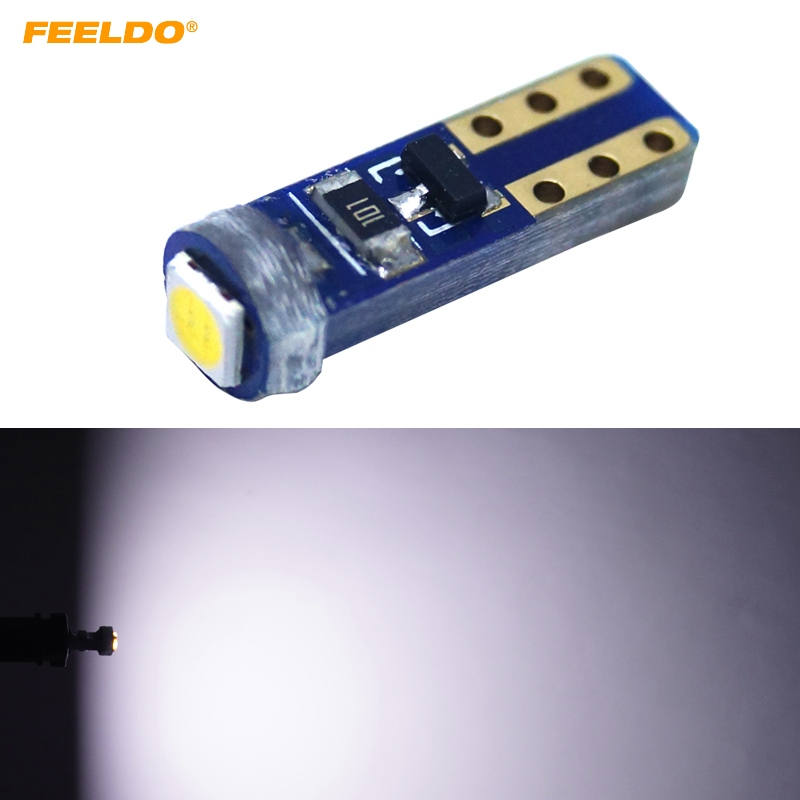 FEELDO 50Pcs White T5 7417 Car LED Light 3030 1LED LED License Plate Parking Lights Side Lamp Bulb Light
