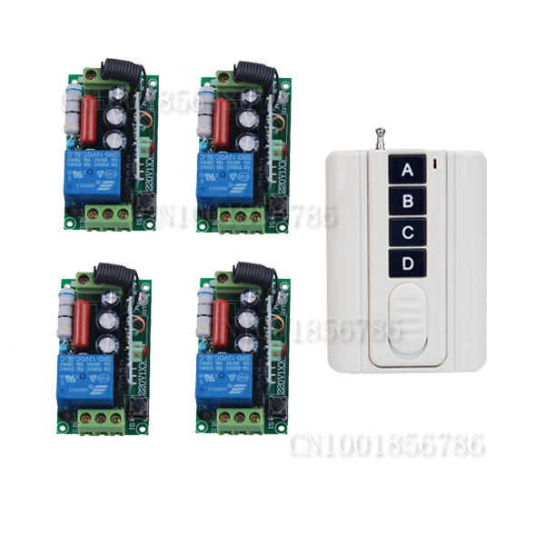 220V 1CH Wireless Remote Control Switch System 4Receiver&Wall transmitter Light Lamp LED Remote Switch Learning Code 315/433Mhz ac 220 v 1 ch wireless remote control switch system 4x transmitter with 2 buttons 1 x receiver light lamp ledon off 315 433mhz
