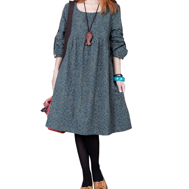 7f7a89a122 Maternity Clothing Autumn and Winter Cotton Linen design Loose Plus size  Casual Dress Long-sleeve Top Clothes For Pregnant Women