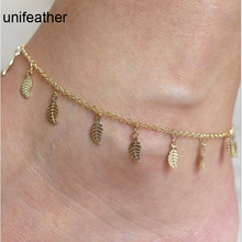 Europe And America Gold Color Fashion Ankle Foot Chain Leaf Shape Tassel Anklets For Women Jewelry Gift Bracelet Wholesale 3539
