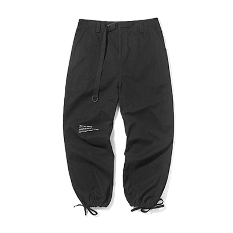 Pantalon Cargo noir pantalons de survêtement 2019 automne taille élastique survêtement Vintage lâche hommes/femmes décontracté haute qualité pantalon Harajuku