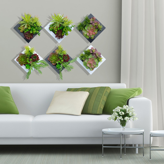 New Arrival Artificial Flowers Succulent Plants Imitation For Decoration Wood Photo Wall Hanging Home Decor