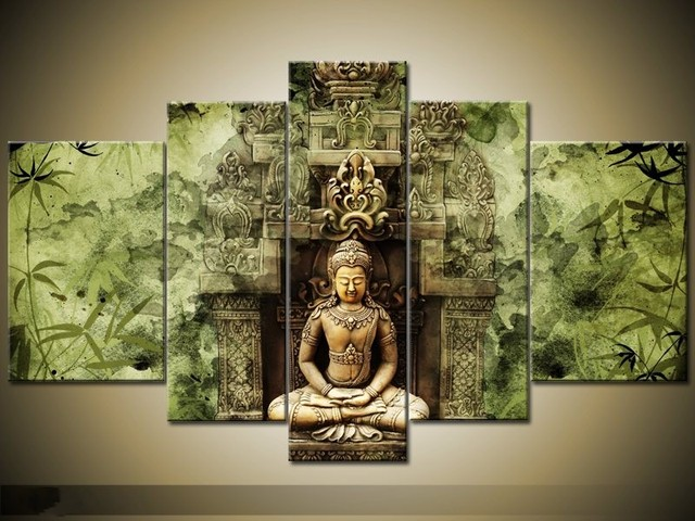 Framed 5 Panel Large Buddha Wall Art Feng Shui Oil Painting on ...