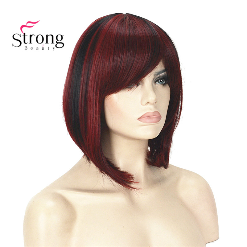 StrongBeauty Short Straight Dark Red Highlighted Bob Style Swept Bangs Synthetic Wig