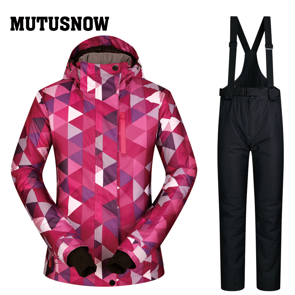 Ski Suit Women 2018 New High Quality Ski Jackets And Pants sets Thick Warm Waterproof Windproof Winter female Snowboarding Suits 2018 new lover men and women windproof waterproof thermal male snow pants sets skiing and snowboarding ski suit men jackets