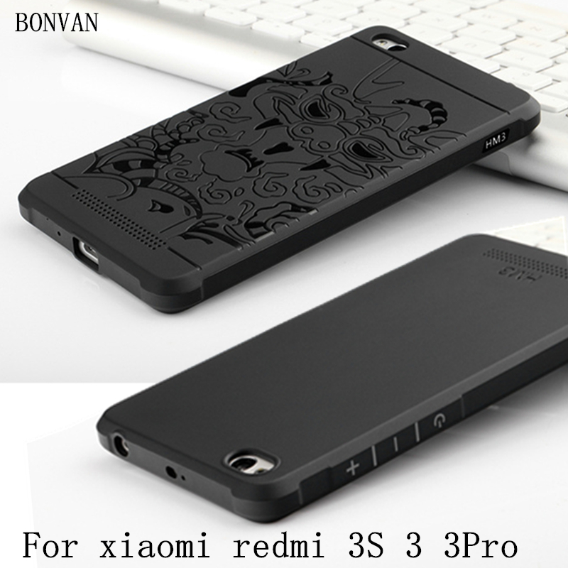 Para xiaomi redmi 3 s case coque de lujo tpu de silicona suave 3d dragón cubiert