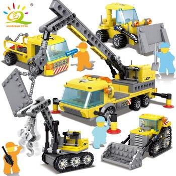 Bộ 467 Thành Phố Kỹ Thuật Xây Dựng Mô Hình xe Khối Xây Dựng Thành Phố máy xúc cẩu gạch Đồ Chơi Trẻ Em cho bé trai