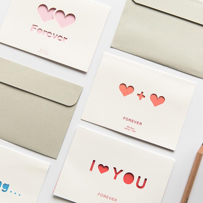 1 шт. сладкий теплый День Святого Валентина полые Конверт для поздравительной открытки парень, девушка подарок любовника спасибо день рожде...