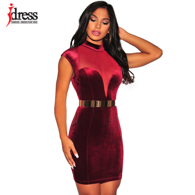 Sexy red velvet dress