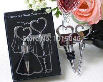 Darmowa wysyłka 1 X dla panny młodej i pana młodego korek do butelek i otwieracz do butelek dwa serca wina Favor Set Wedding Party prezent