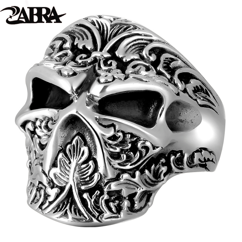 ZABRA Vintage Real 925 Sterling Silver Skull Ring Men Adjustable High Polished Handmade Rings For Male Punk Rock Gothic Jewelry цена