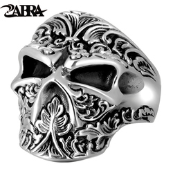 ZABRA Vintage Real 925 Sterling Silver Skull Ring Men Adjustable High Polished Handmade Rings For Male Punk Rock Gothic Jewelry