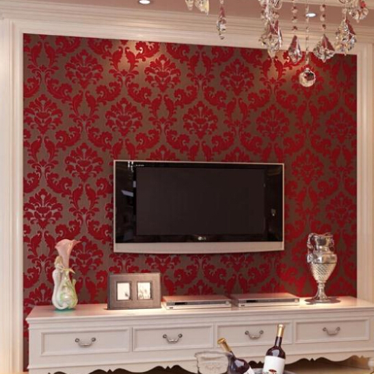 Aliexpress.com : Buy Romantic European Velvet 3D Background Wallpaper Red  Living Room Wall Paper Floral Wallcovering Roll Bedroom Wallpaper WP007  From ... Part 10