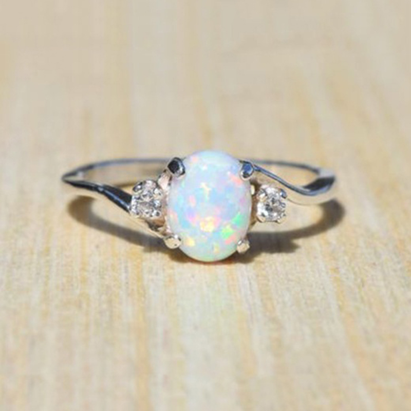 Exquisite Silver Color Natural White Fire Opal Stone Rings