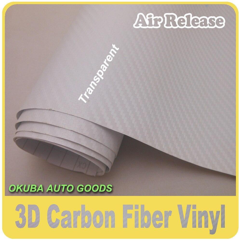Prix de gros Transparent 3D En Fiber De Carbone vinyle Film de Dégagement D'air Taille: 1.52*30 m/Roll FedEx LIVRAISON GRATUITE