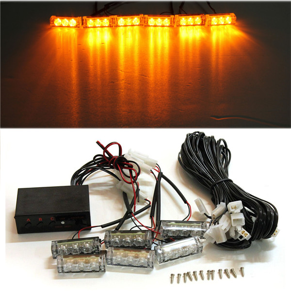 12V 6 LED Car Motorcycle Flash Light bAR Strobe Warning For Police Truck Firemen Flashing Grille Lights Amber стоимость
