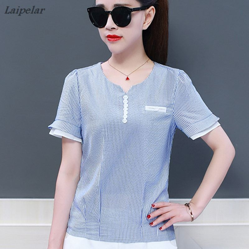 New Fashion Striped Blouse Women Shirts Blouses 2018 Summer Top Short Sleeve Chiffon Shirt Casual Loose Ladies White Blouse Tops in Blouses amp Shirts from Women 39 s Clothing