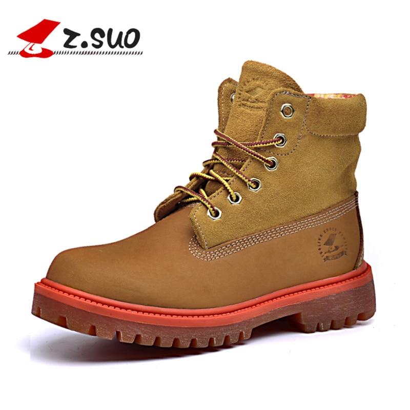Z. Suo/женские ботинки, модные женские сапоги, зимняя обувь для отдыха женские из воловьей кожи, Botas Mujer botte Femme zs1206