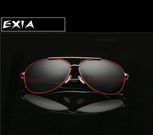 Polarized Glasses Grey Lenses Red Frame Sunglasses Male with Case Cloth Package EXIA OPTICAL KD-8116 Series