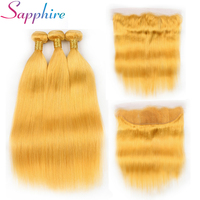 Sapphire Straight Human Hair Bundles With Frontal 13x4 Frontal Closure Yellow Color Remy Hair Bundles Free Shipping