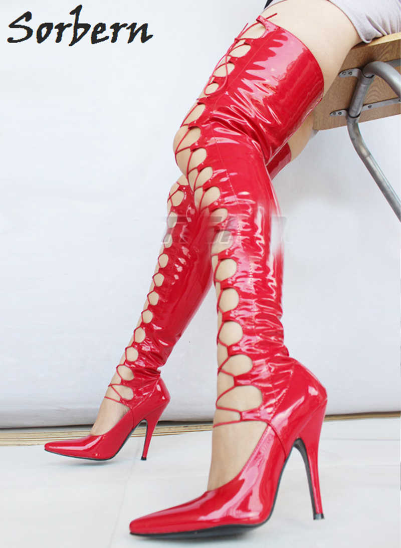 3825fd6668e ... Sorbern Sexy Fetish Boots Lace Up Thigh High Heel Sexy 12 CM Over The  Knee Long ...