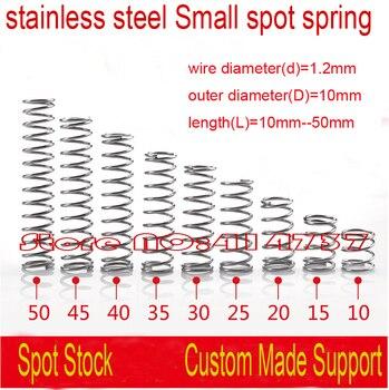 1,2*10*10mm-50mm OD = 10mm 1,2mm cable de acero inoxidable micro resorte compresión resorte presión OD = 10mm