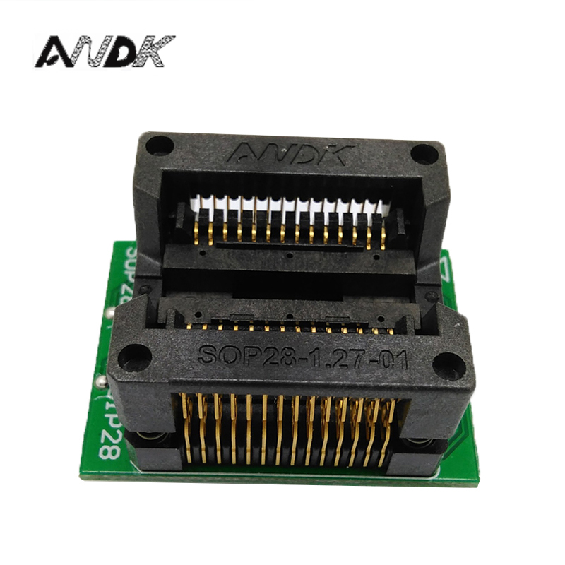 SOP28 SOIC28 SO28 to DIP28 Programming Socket Pitch 1.27mm IC Body Width 7.5mm 300mil OTS-28-1.27-04 Test Adapter
