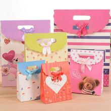 20pcs/lot Multifuntion Ribbon Bow Paper Bag Birthday Christmas Gift Packaging Bags Wedding Festival Party Supplies