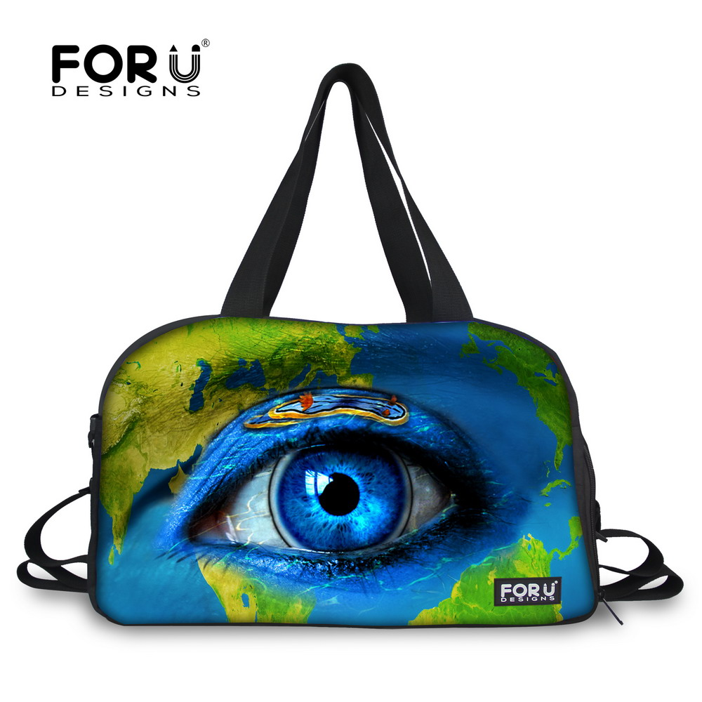 FORUDESIGNS Earth Eye motif toile femme sacs de voyage continuer bagages sacs femmes sacs polochon voyage fourre-tout grand week-end sac