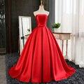 Vestido formatura novia sin mangas sin tirantes de borgoña rojo danni delgado largo prom dress del partido de encargo vestido de noche formal 2017
