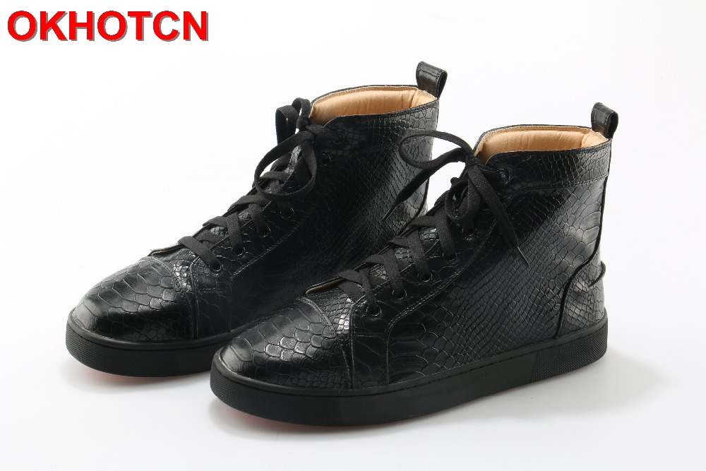 Black High Top Men Casual Shoes Genuine Leather Lace Up Snake Zapatos De Los Hombres Shoes Plus Size Waterproof Leisure Sneakers