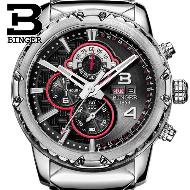 BINGER Fashion Chronograph Sport Mens Watches Top Brand Luxury Military Stainless Steel Strap Quartz Watch Relogio Masculino