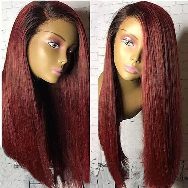 1B/99j Burgundy Bob Lace Front Wigs 360 Lace Frontal Wig 150% Brazilian Straight Purple Red Ombre Short Human Hair Wigs Remy
