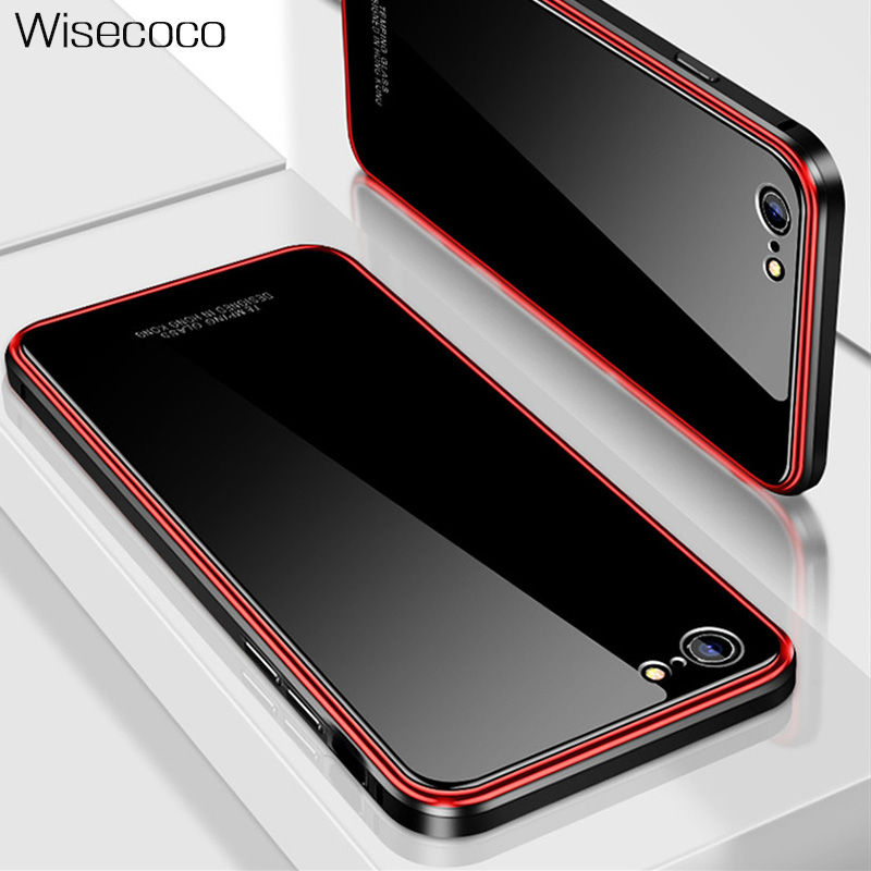 Luxury Metal Bumper Case For iPhone 6 6s Plus Plating 360 Full Cover Hard Tempered Glass Back Cases for iphone6splus 6 s + coque iPhone XS