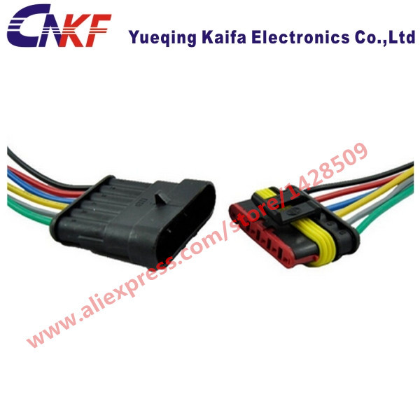 1 Set Tyco/Amp 6 Pin wiring harness kit Waterproof automotive wiring connectors car wiring harness 282090-1 282108-1
