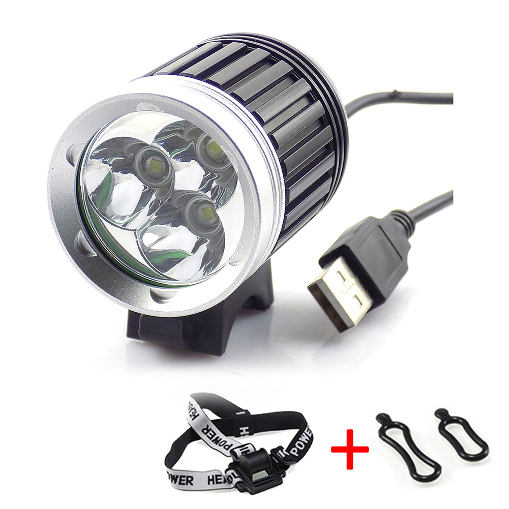 цены NEW 2 in 1 USB Port Bicycle Light 3 Mode XM-L T6 3x LED Headlamp Cycling Front Head Torch Waterproof Bike Light Lamp Headlight