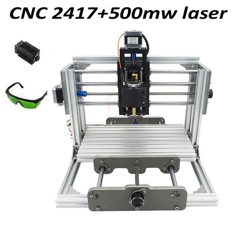 Mini diy cnc router 2417+500mw laser 2 in 1 CNC engraving machine Pcb Milling Machine Wood Carving machine eur free tax cnc 6040z frame of engraving and milling machine for diy cnc router