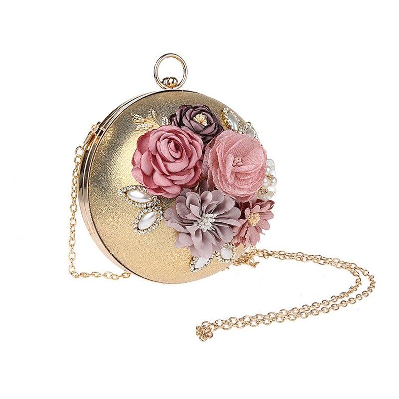 ALIEME Women Wedding Bags Evening Bags Dinner Women Bag 2017 Hot Hand Evening Bag New Flowers Chain Fashion Gold Handbags 43