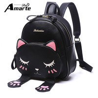 Amarte Women Cute Cartoon Cat Backpacks 2017 New Women Leather Backpacks Girls Small Fashion Casual Daypack Lady Leisure Packbag