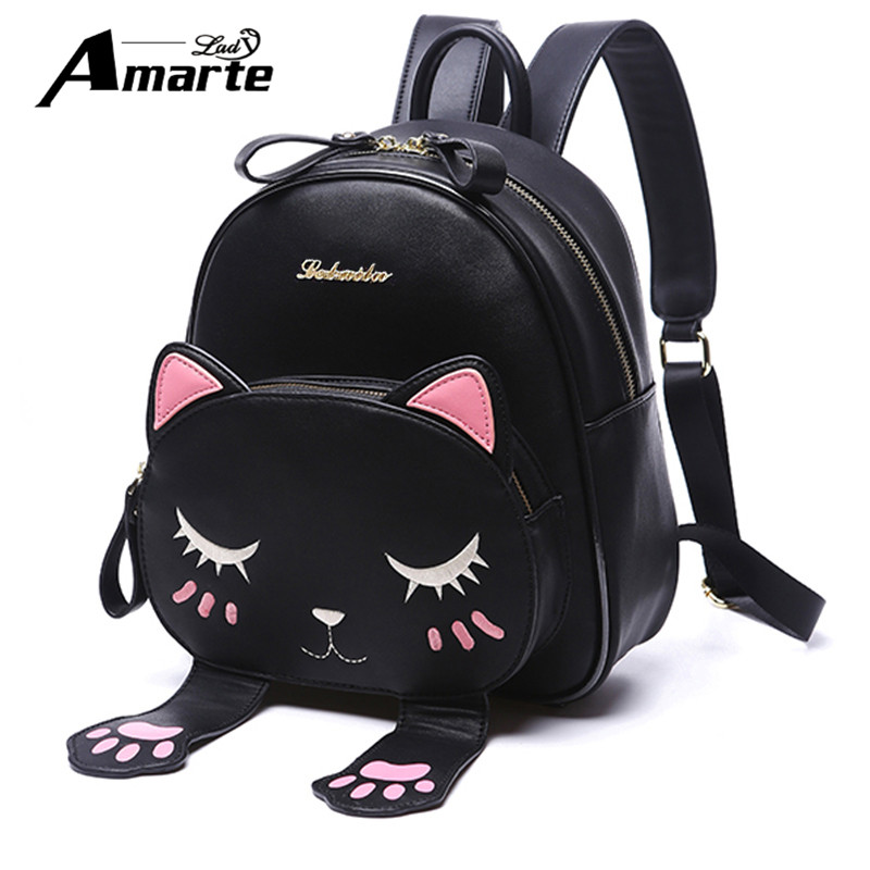 Amarte Women Cute Cartoon Cat Backpacks New Women Leather Backpacks Mini Girls Small Fashion Casual Women Back <font><b>Pack</b></font> Mochila Gato