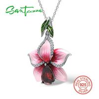 Flower Pendants Fit For Necklace Big Pink Flower Enamel Pendant Natural Stone Red Garnet CZ Diamond