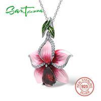 Flower Pendants Fit For Necklace Big Pink Flower Enamel Pendant Natural Stone Red Garnet CZ Diamond