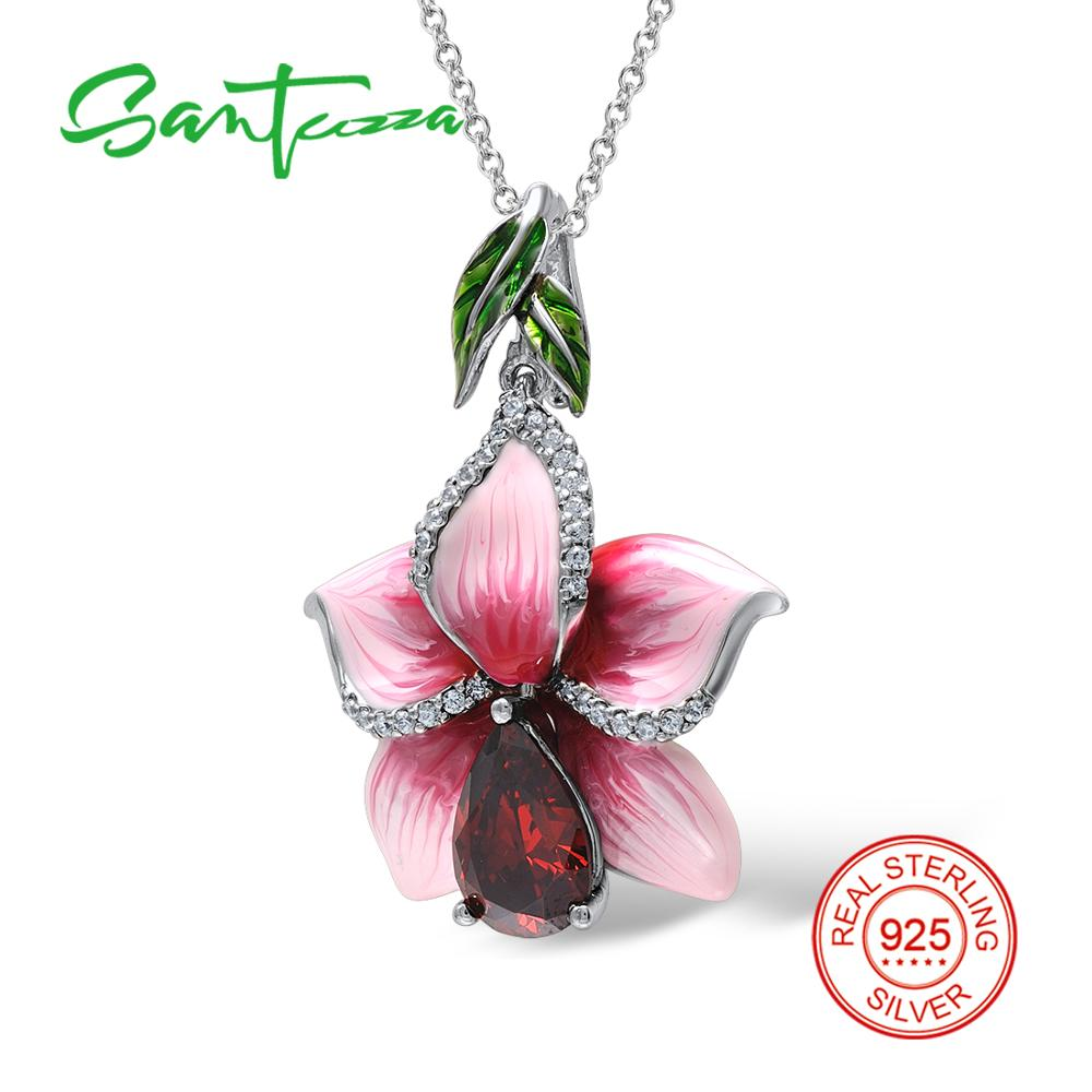 Santuzza Silver Pendants For Women Natural Stone Pendant fit for Necklace 925 Sterling Silver Slide Necklaces Pendant Enamel silver flower pendant fit for necklace for women purple flower handmade enamel pendant cz stone pure 925 sterling silver jewelry