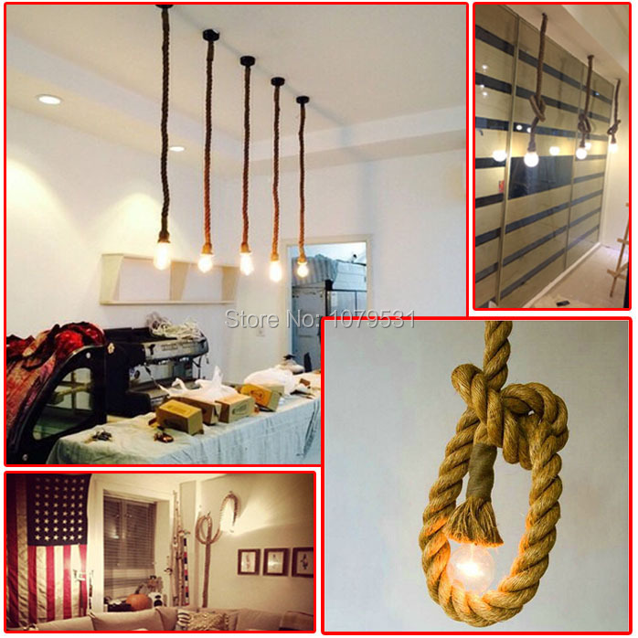 aliexpresscom buy loft vintage rope pendant lights hand knitted hemp rope light for parlor bedroom hotelcord pendant single head rope lamps from cable pendant lighting