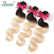 ILARIA HAIR Brazilian Hair 3 Bundles 1B/613 Ombre Blonde Human Hair Weave Body Wave 2 Tone Dark Roots Platinum Color Hair Bundle(China)