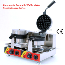 2 Heads Rotatable Waffle Machine Nonstick Cake Maker 3000W 110V/220V for Restaurants Cafeteria CE Approval