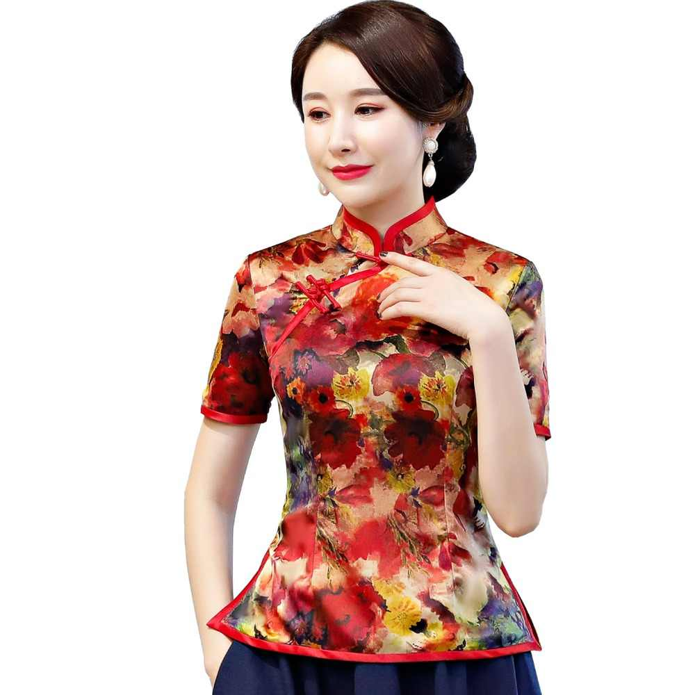 5403adaaf ... Shanghai Story Chinese Traditional Top Floral Cheongsam Tops Short  Sleeve Chinese Top for Women Chinese Blouse ...