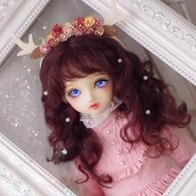 BJD кукла парики цвета: красный и коричневый длинные вьющиеся волосы мохер парики для 1/3 1/4 1/6 1/8 1/12 BJD MSD MDD YOSD кукла парики из натуральных волос аксессуары для куклы