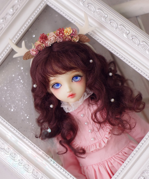 BJD doll wigs red brown long curly hair Mohair wigs for 1/3 1/4 1/6 1/8 1/12 BJD MSD MDD YOSD doll hair wigs doll accessories